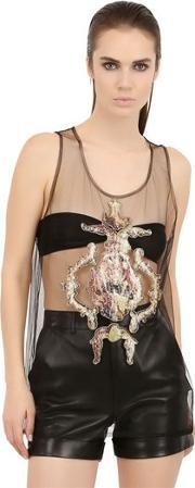 Antpitagora , Sequined Angel Patches On Tulle Tank Top