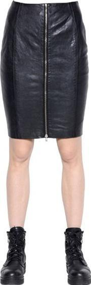 Blk Dnm , Skirt 24 In Leather