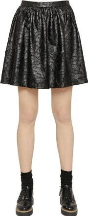 Blugirl , Faux Leather Lace Skirt