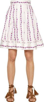 Blugirl , Floral Printed Stretch Cotton Skirt