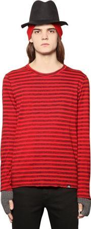 Cheap Monday , Faded Stripe Printed Cotton T Shirt