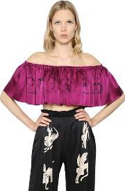 Claire Barrow , Cropped & Ruffled Printed Satin Top