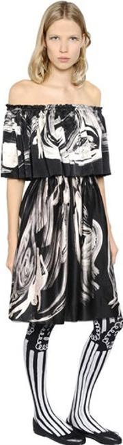 Claire Barrow , Ruffled & Printed Satin Dress