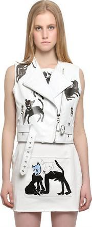 Claire Barrow , Sleeveless Leather Moto Vest