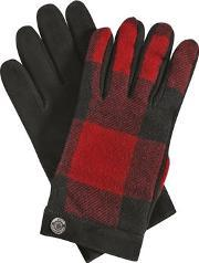Dsquared2 , Check Wool Flannel & Nubuck Gloves