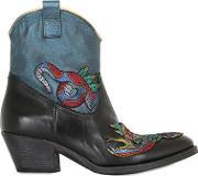 Elena Iachi , 50mm Embroidered Leather Boots