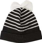 Federica Moretti , Striped Cotton Blend Beanie Hat With Bow