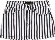 Finger In The Nose , Striped Stretch Cotton Denim Skirt