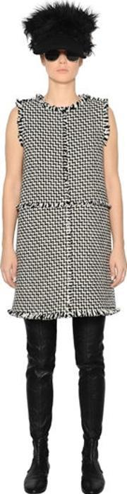 Gianluca Capannolo , Sleeveless Fringed Wool Twill Dress