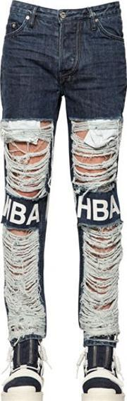 Hba Hood By Air , 16.5cm Shredded Cotton Denim Jeans