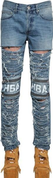Hba Hood By Air , 16.5cm Shredded Zipped Denim Jeans