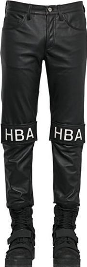 Hba Hood By Air , 17cm Velcro Patched Smooth Leather Jeans