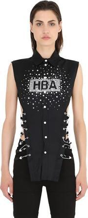 Hba Hood By Air , Cotton Poplin Embellished Whit Hooks