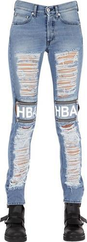 Hba Hood By Air , Shredded Cotton Denim Jeans