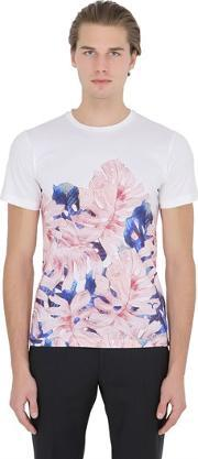 Larusmiani , Floral Printed Cotton Jersey T Shirt