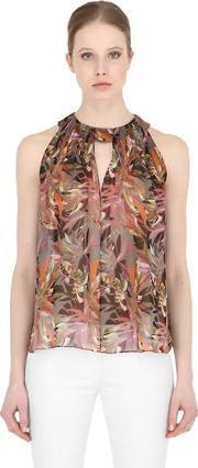 Larusmiani , Printed Silk Top With Pleats