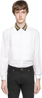 Lords & Fools , Embroidered Collar Cotton Poplin Shirt