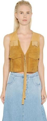 Mm6 Di Maison Margiela , Fringed Suede & Nappa Leather Vest