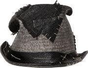 Move , Vintage Effect Patched Straw Top Hat