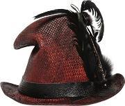 Move , Vintage Effect Straw Top Hat W Feathers