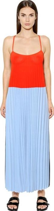 Mrz , Pleated Color Block Viscose Dress