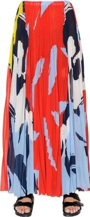 Mrz , Printed Pleated Techno Chiffon Skirt