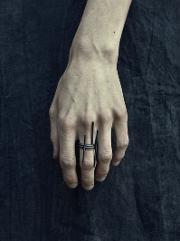 Murky , Set Of 3 Oxidized Silver Rings
