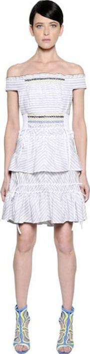 Peter Pilotto , Off The Shoulders Striped Jacquard Dress