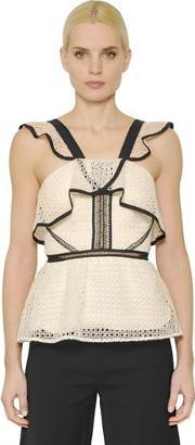 Selfportrait , Ruffled Lace Top With Peplum