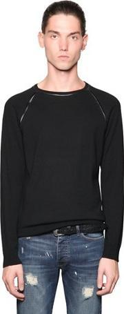 The Kooples , Nappa Leather Trim On Wool Sweater