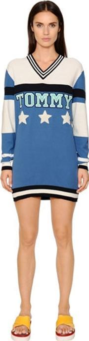 Tommy Hilfiger Collection , Patchwork Cotton Knit Sweater Dress
