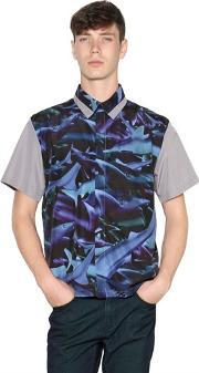 Tothem , Shark Printed Techno Satin Shirt