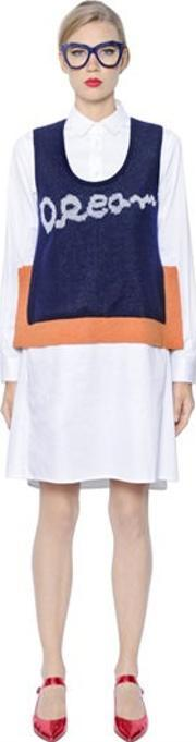 Tsumori Chisato , Cotton Satin Dress With Sweater Vest