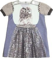 Venera Arapu , Owl Printed Linen & Cotton Blend Dress