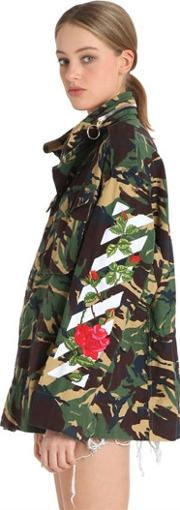 Off White , M65 Embroidered Camo Canvas Field Jacket