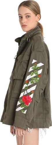 Off White , M65 Roses Embroidery Canvas Field Jacket