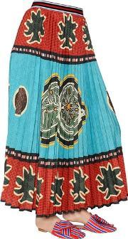 Stella Jean , Printed Pleated Techno Georgette Skirt