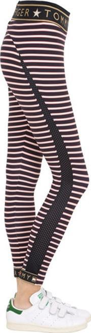 Tommy Hilfiger Collection , Striped Logo Microfiber Leggings