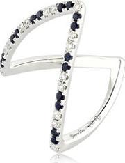 Yvonne Leon Paris , White Diamonds & Blue Sapphire Ring