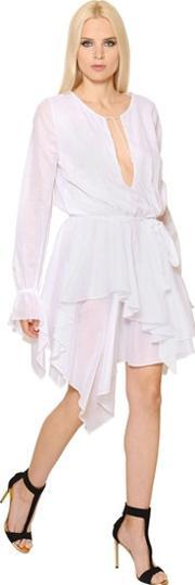 Alexandre Vauthier , Long Sleeve Ruffled Cotton Voile Dress