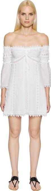 Charo Ruiz , Off The Shoulder Voile & Lace Dress