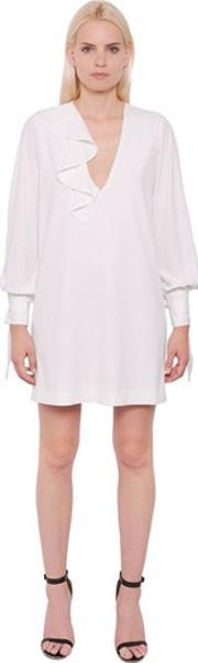 Designers Remix , V Neck Crepe Dress With Ties & Ruffle