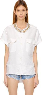 Forte Couture , Embellished Cotton Short Sleeve Shirt