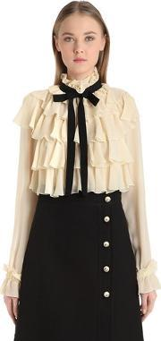 Gucci , Ruffled Silk Georgette Shirt With Bow