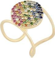 Buja , Button Rainbow Pave Ring
