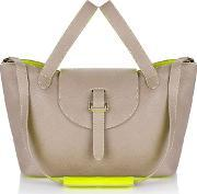 Meli Melo , Thela Medium Tote Bag Taupe & Fluoro Yellow
