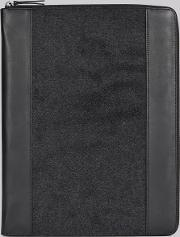 Moss Bros , Dkny Charcoal Grey Flannel Leather Document Holder