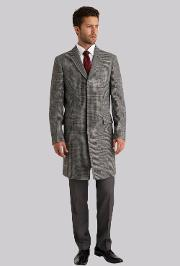 Moss Bros , Moss 1851 Tailored Fit Grey Overcheck Overcoat