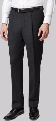 Moss Bros , Moss Regular Fit Charcoal Plain Pleated Trousers