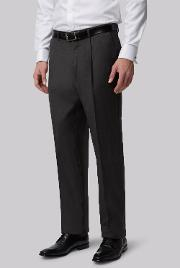 Moss Bros , Moss Regular Fit Charcoal Pleated Trousers